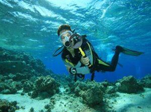Diver with Underwater Metal detector